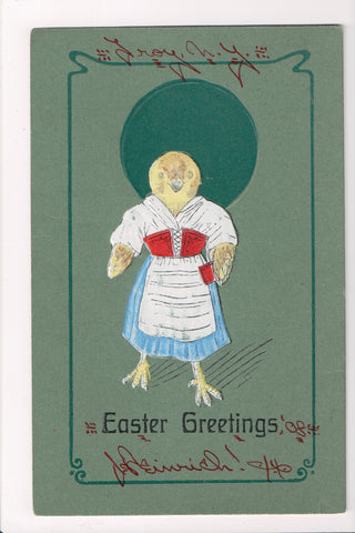 Easter - Anthropomorphic, dressed, fantasy, chicks upright postcard - w00143