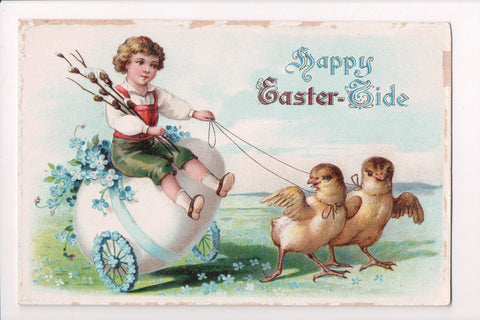 Easter - boy riding a Egg cart being pulled by 2 chicks postcard - w00177