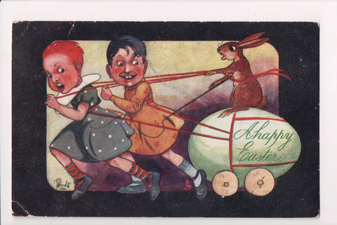 Easter - Boys? in a dress, egg cart - Tuck postcard - signed Hyde - w03953