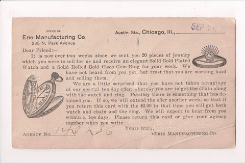 IL, Chicago - ERIE MANUFACTURING CO - @1905 advertising correspondence - 700015