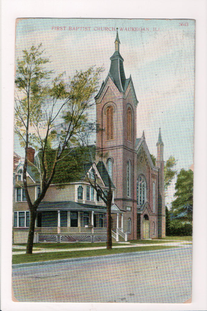 IL, Waukegan - FIRST BAPTIST CHURCH - @1909 postcard - F09084