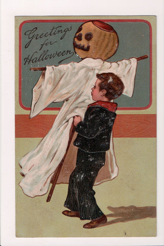 Halloween - Boy, pumpkin head scarecrow - Finkenrath 9422 - F09127