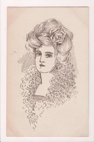 People - Female postcard - Pretty Woman - Sepia - Artist Signed in hair - F09248
