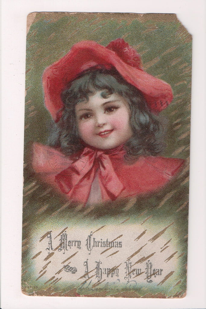 Xmas postcard - Christmas - little girl, red and white cape - F09271