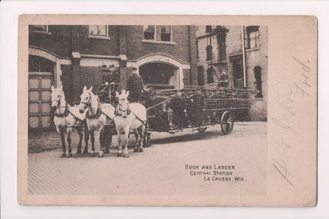 WI, La Crosse - Fire Engine Co, Central Station Hook and Ladder postcard - FF000