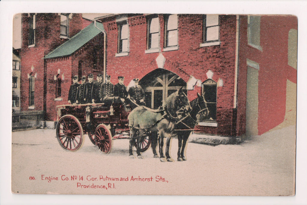 RI, Providence - Fire Engine Co No 14 wagon, men postcard - FF0004