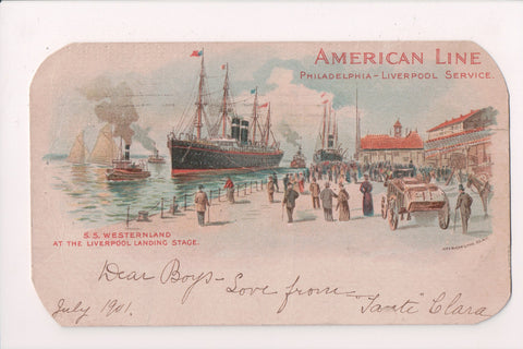 Ship Postcard - WESTERNLAND, SS at the Liverpool Landing - FF0008