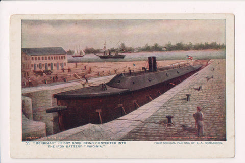 Ship Postcard - MERRIMAC being converted into VIRGINIA - FF0009