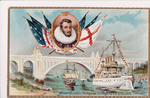 Famous People Postcard - Henry Hudson Memorial Bridge to be erected - FF0017