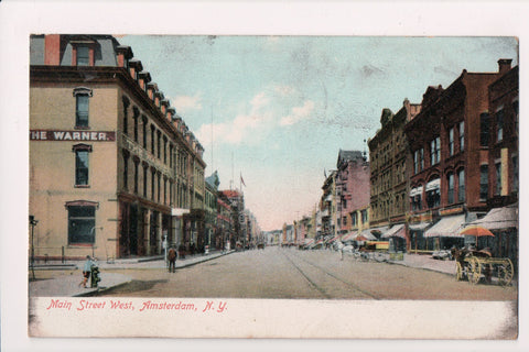 NY, Amsterdam - Main St West scene - The Warner - postcard - FF0030
