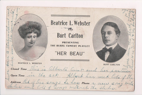 Advertising postcard - Webster and Carlton actors HER BEAU play - FF0031
