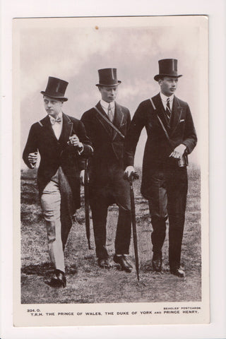 Famous People Postcard - Prince of Wales, Duke of York, Prince Henry RPPC - FF00