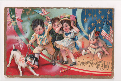 4th of July -  Young kids, dog with firework in mouth - @1911 postcard - E10271