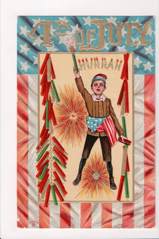 4th of July - Hurrah, fireworks - @1910 postcard - E10328