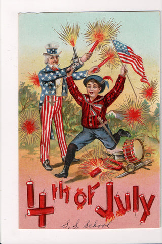 4th of July -  Uncle Sam w/fireworks, boy w/gun and flag - SL2005