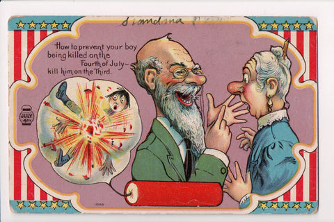 4th of July - How to prevent your boy being killed - Joke postcard - w02162