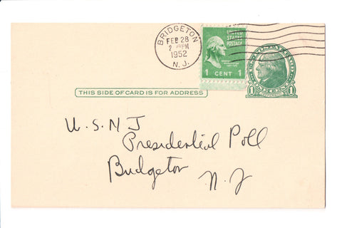Famous People - Truman for President on 1952 Postal Card - B17092