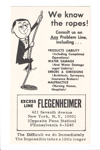 NY, NYC - FLEGENHEIMER advertisement postcard - 605066
