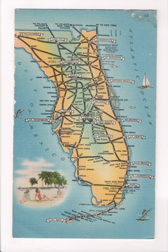 Map Florida City Names.Fl State Map Showing Roads City Town Names Linen Postcard W00085