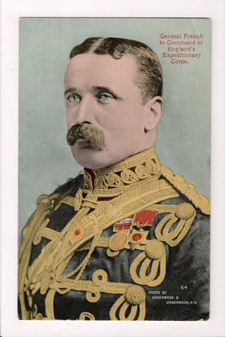 Misc Military - Field Marshal Sir John French - closeup postcard - G17025