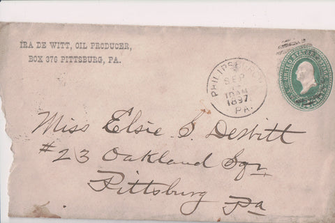 PA, Pittsburg - Ira De Witt, Oil Producer 1897 envelope and note - G18030