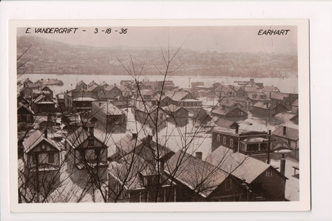 PA, East Vandergrift - Bird Eye of 1936 flooding, Earhart RPPC - G18034