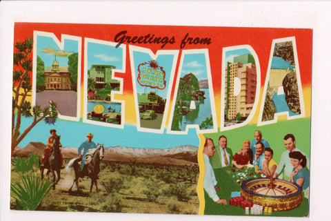 NV, Greetings from - showing a roulette wheel - postcard - G18035