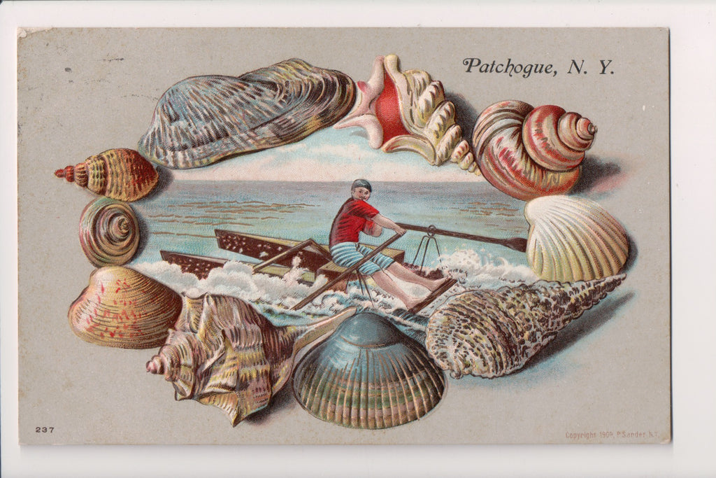 NY, Patchogue - large shell border postcard - G18060