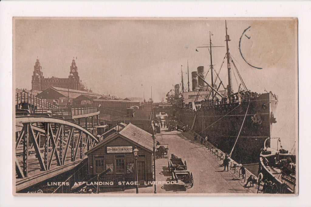 Ship Postcard - Landing Stage - signs, Liners - RPPC - G18062