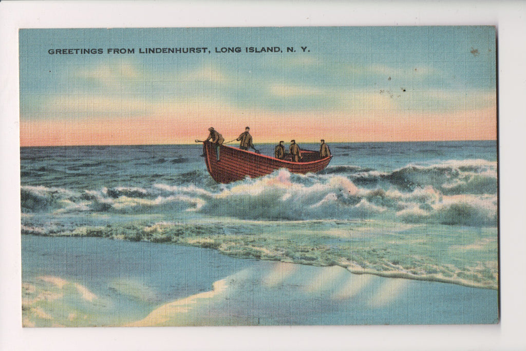NY, Lindenhurst Long Island - Greetings From postcard - G18088