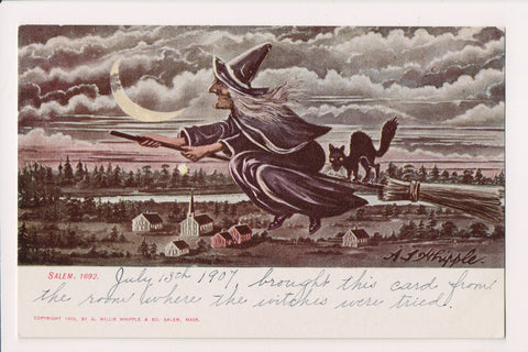 Halloween - Flying witch, cat on broom - A S Whipple - G18153