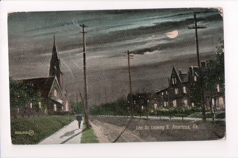 GA, Americus - Lee Street with Church in view - A07186