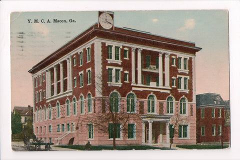 GA, Macon - YMCA with a large clock on the top of the building - MB0354