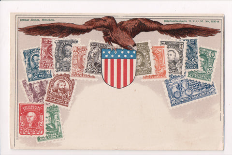 Vintage Patriotic Postcard - Eagle, US flag shield, old US Stamp images - CP0298