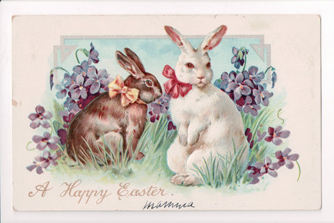 Easter - 2 large rabbits with ribbons on - Tuck postcard - A06703