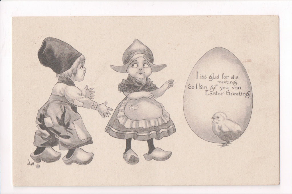 Easter - Dutch kids, chick, egg - artist signed WALL - A06708