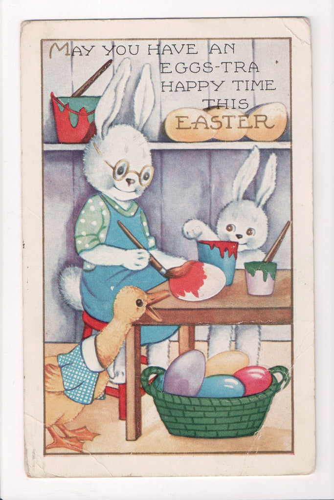 Easter - Humanized fantasy rabbits or hares coloring eggs, duck - A06712
