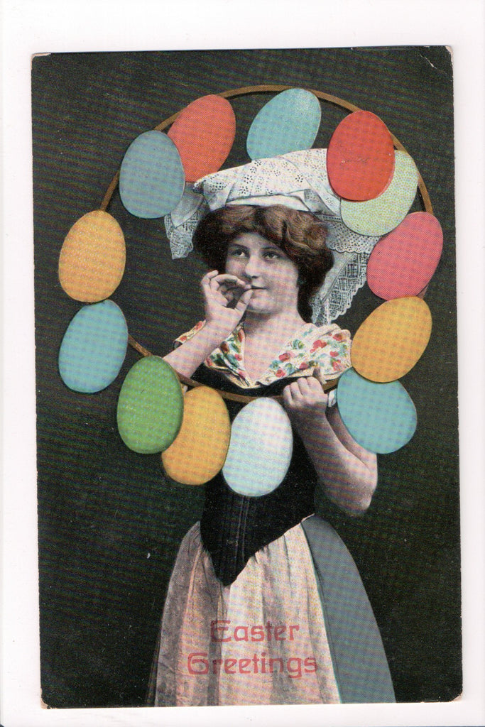 Easter - Easter Greetings - Young woman, fingers to lips, eggs - B06330