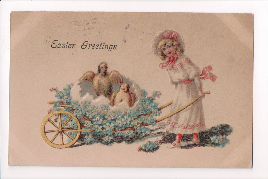 Easter - Easter Greetings - young girl pushing chicks, wheelbarrow - B06333