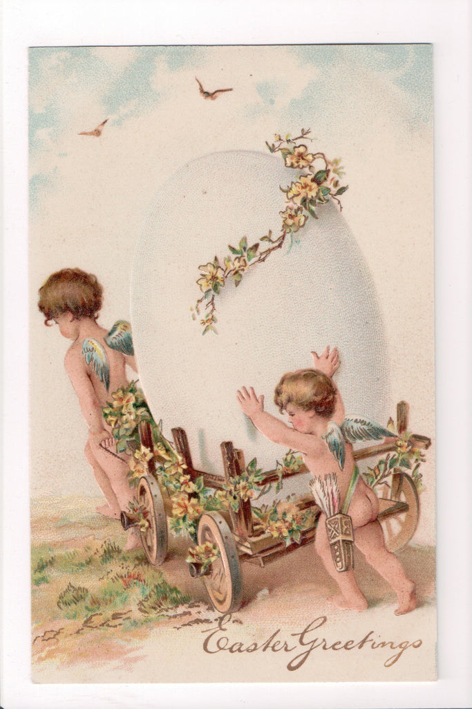 Easter - Easter Greetings - 2 bare butted cherubs or angels - B06389