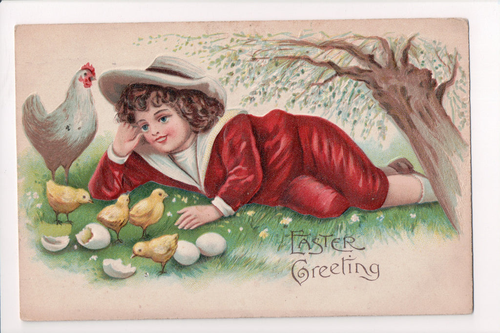 Easter - Greeting - Boy laying with hen and chicks - B17119