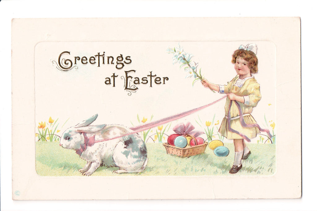 Easter - Greetings at Easter - child walking rabbit - C06211