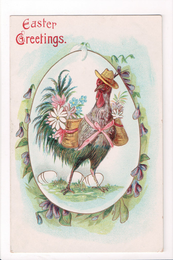 Easter - Humanized fantasy rooster with baskets of flowers on back - E03066