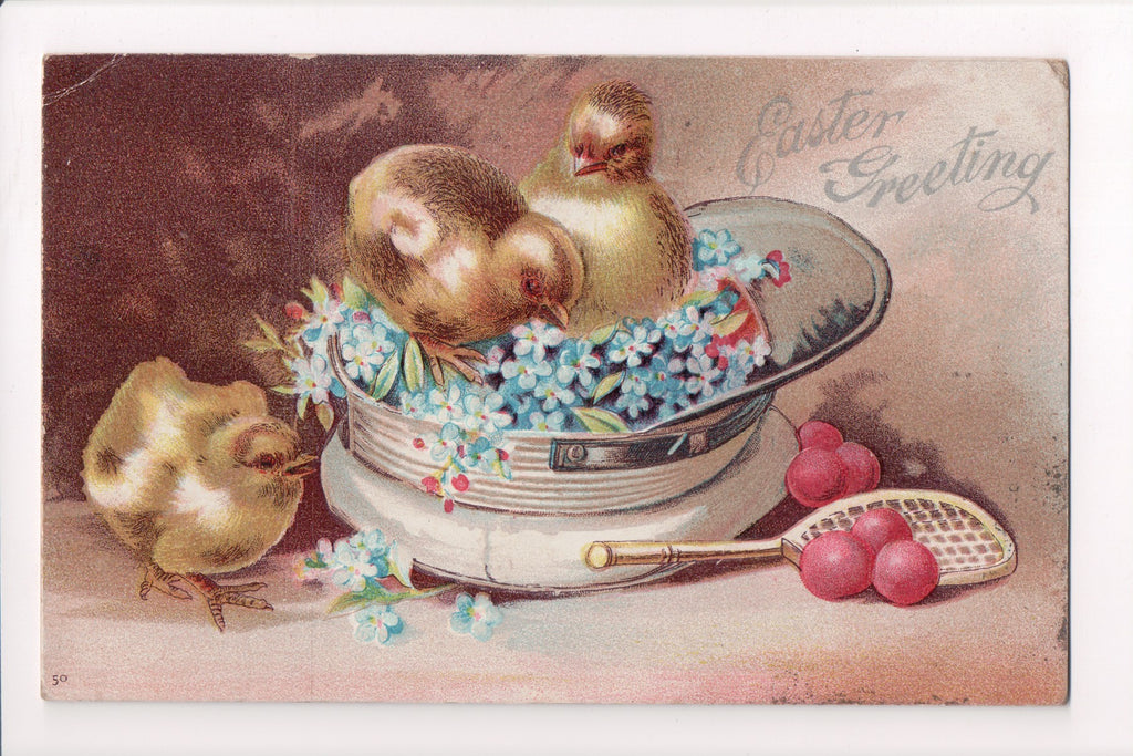 Easter - Easter Greetings - Chicks in hat, racket and balls - SL2121