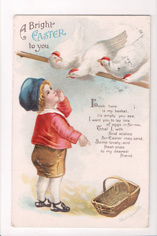 Easter - Boy, hens on perch - Clapsaddle signed - T00217