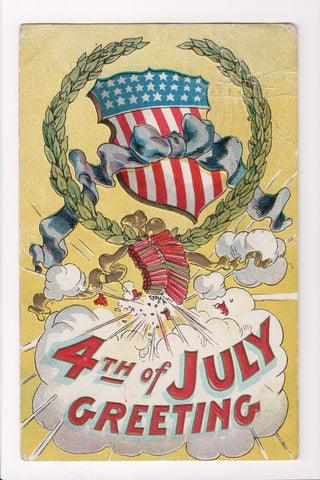 Vintage Patriotic Postcard - Fourth of July Greeting, firecrackers - B10110