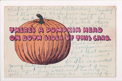 Halloween - Theres a Pumpkin Head on both sides of This Card - C17530