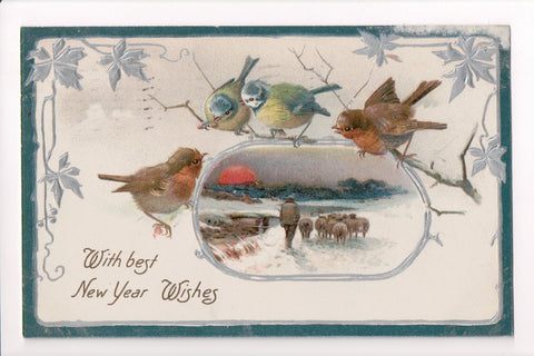 New Year - Birds up close, shepard scene, silver - Winsch Back - 400263