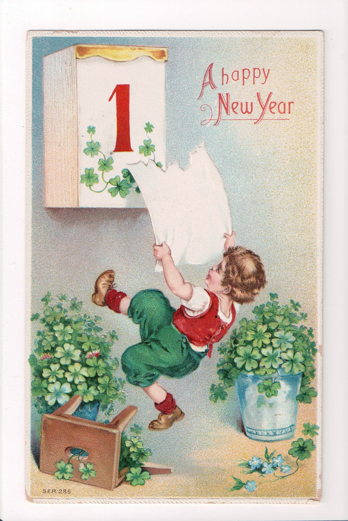 New Year - A Happy New Year - boy tearing off page - A06199