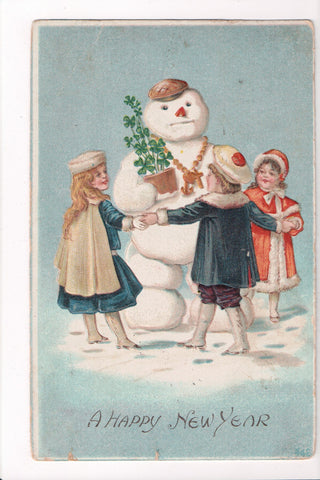 New Year - snowman, 4 leaf clovers, kids surounding it - B06487